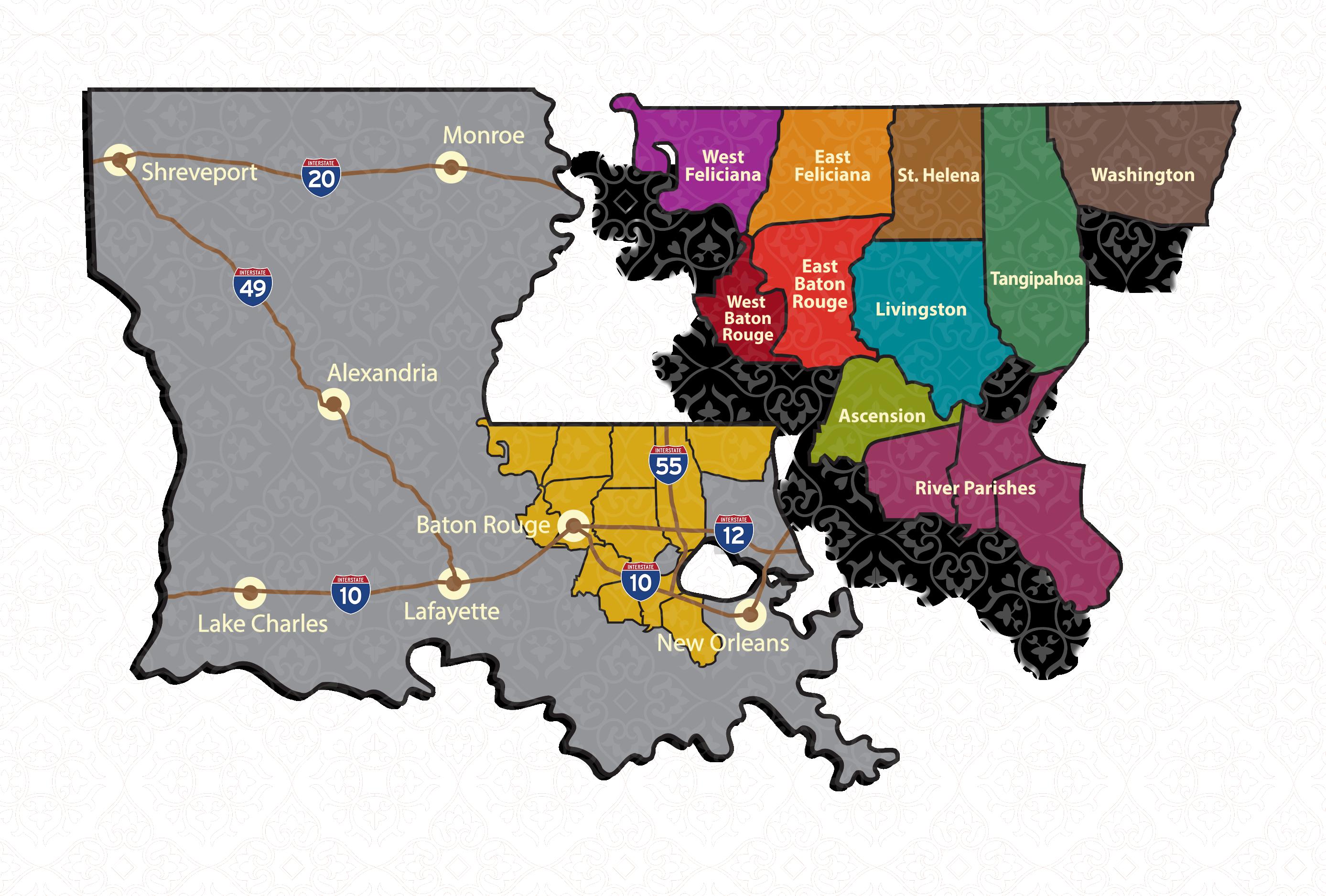 map of southeast louisiana Southeast Louisiana Gumbo 1 877 41gumbo Home map of southeast louisiana